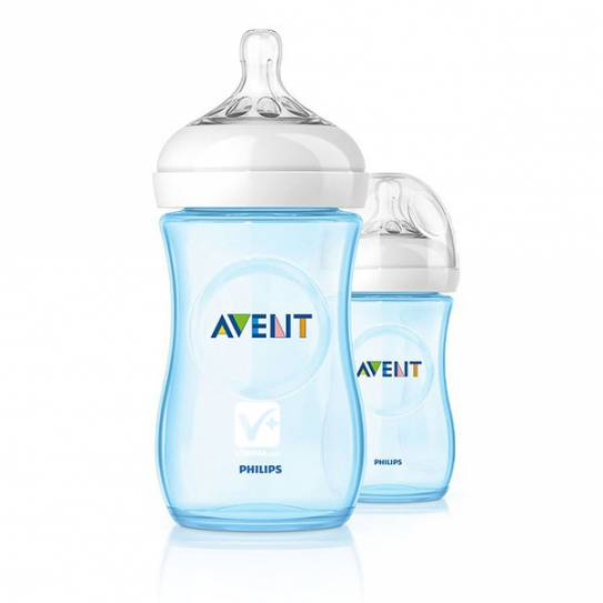 AVENT BIBERON PP NATURAL AZUL 260 ML