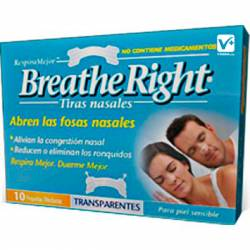 BREATHE RIGHT TIRA NASAL TRANSPARENTE 10 UDS